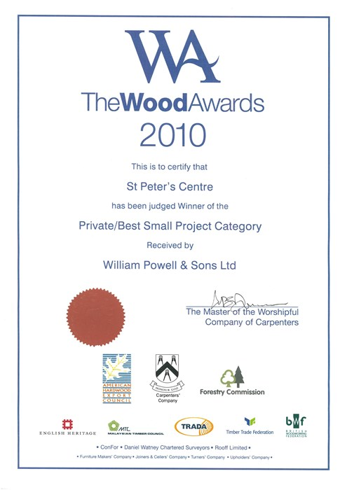 Award Wood Award 2010 Best Small Project Reordering Of St Peters Centre Peterchurch