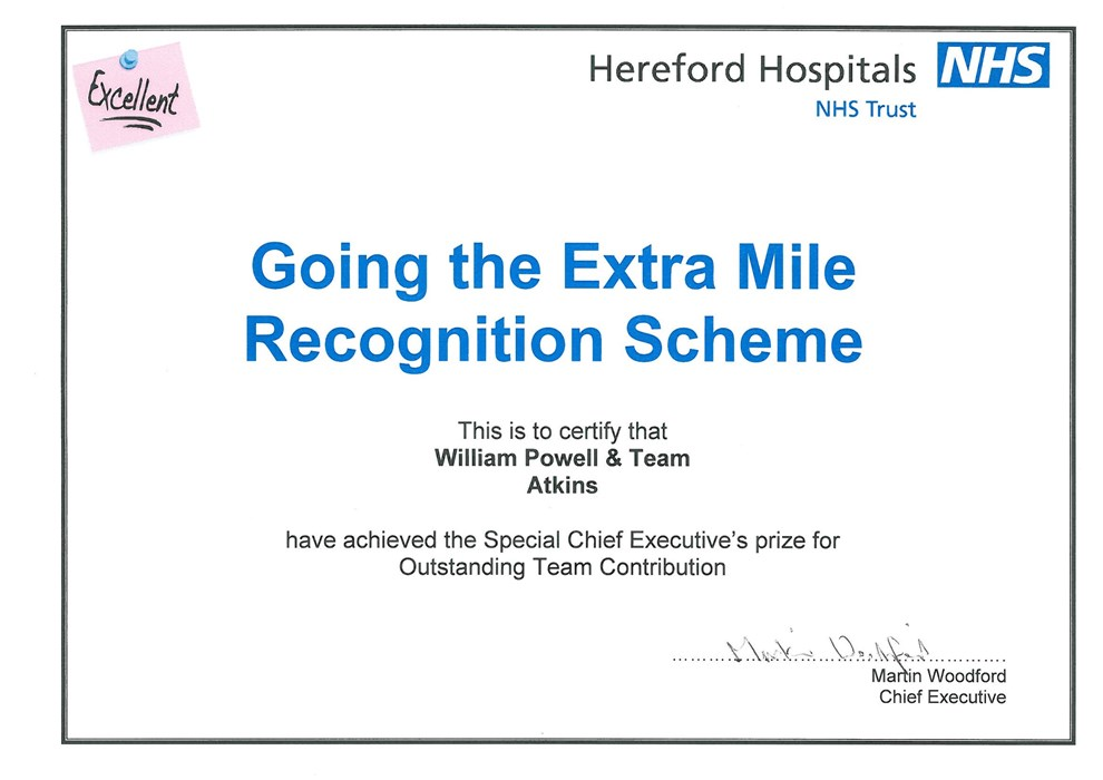 Award Going The Extra Mile Award NHS Trust 2010