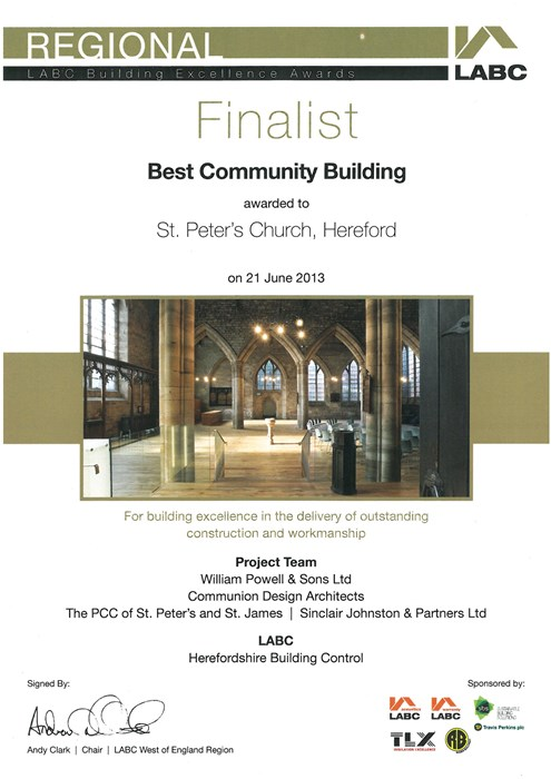 Award LABC Best Community Building 2013 Finalist St Peters Church Hereford
